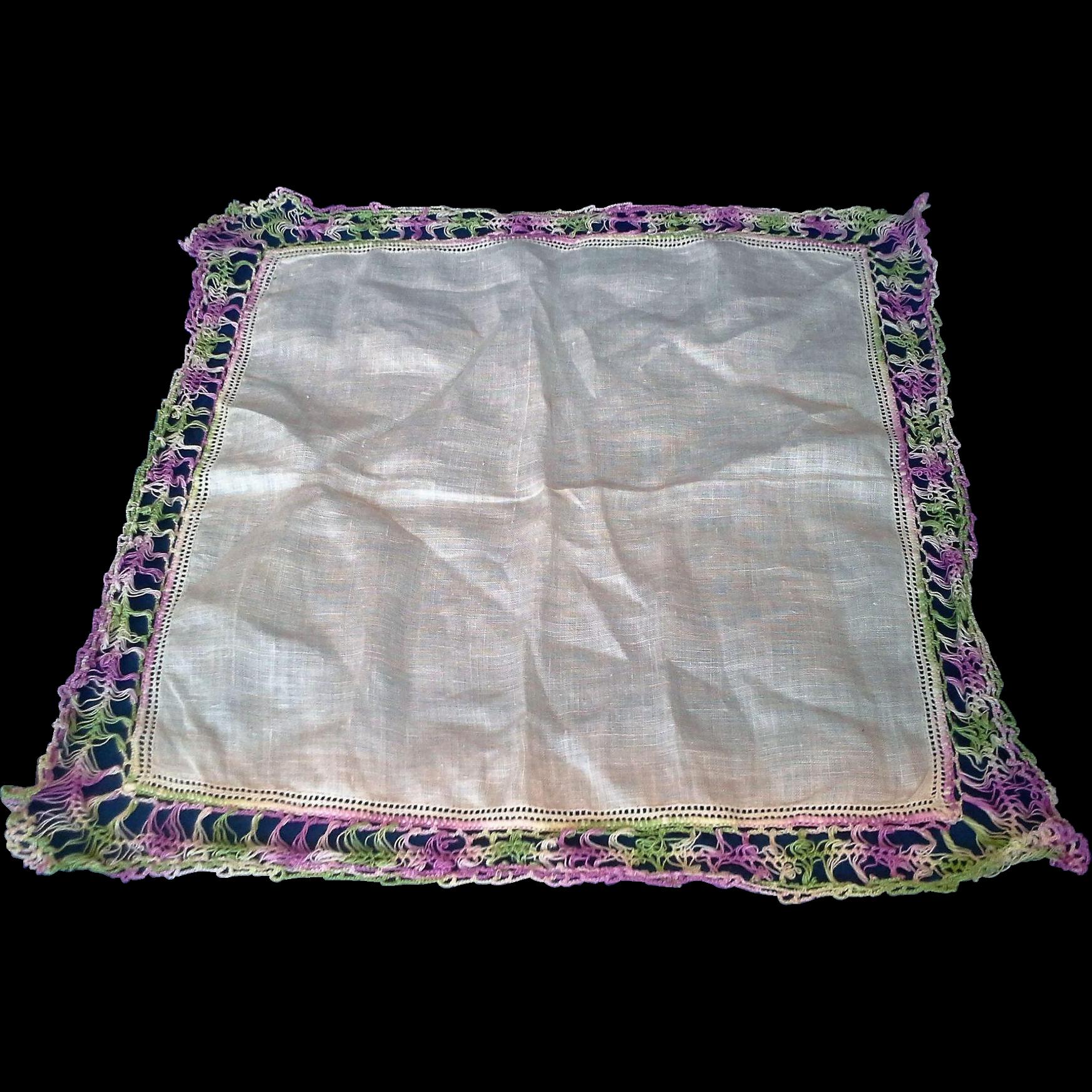 White Linen Crocheted Lace Purple Green Border Hanky Handkerchief