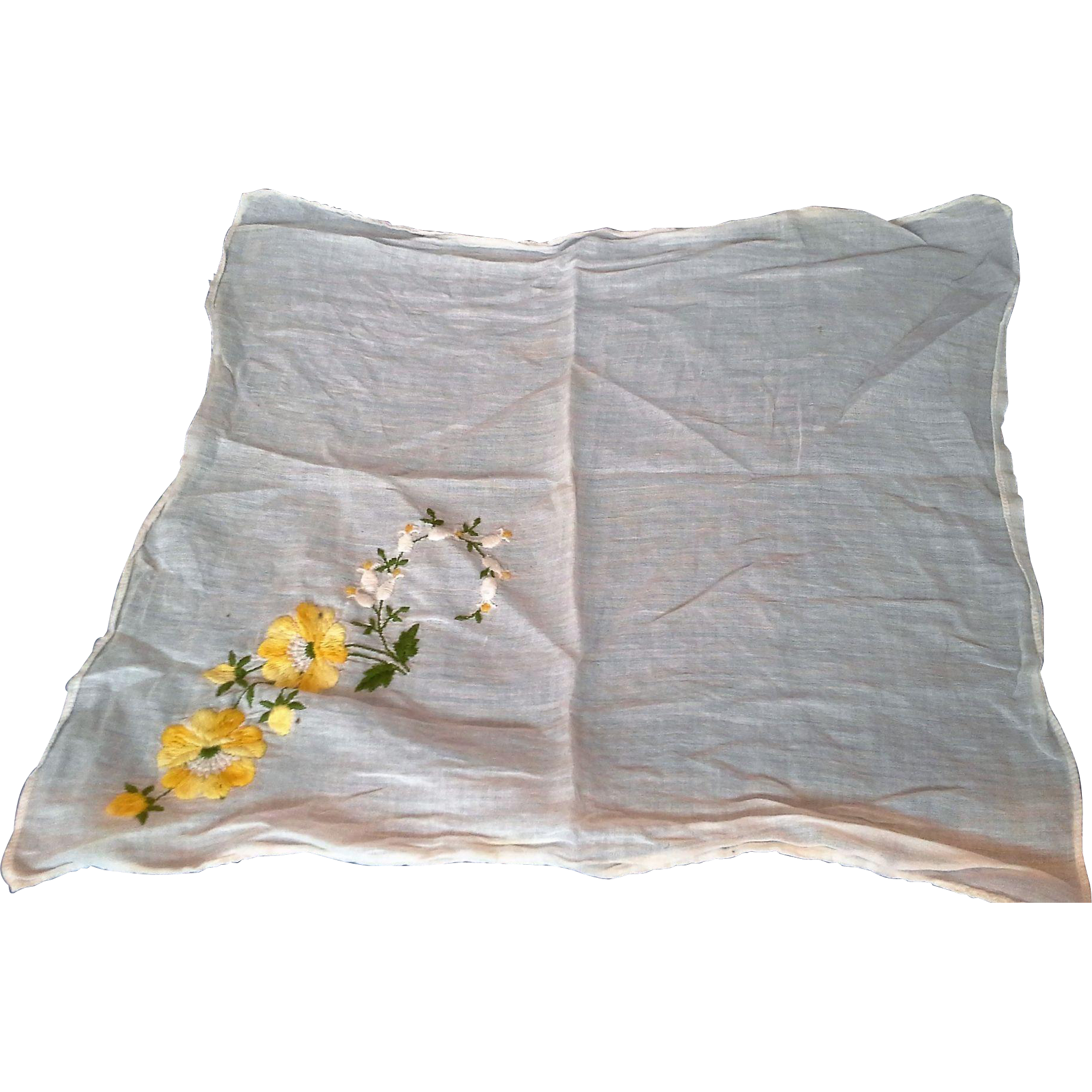 White Cotton Yellow Flowers Embroidered Handkerchief Hanky