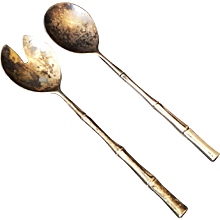 Silverplate Salad Servers Fork Spoon Bamboo Handles Made in Italy