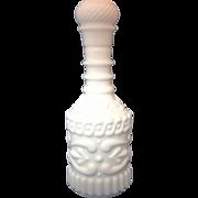 White Milk Glass Highly Embossed Liquor Bottle Jim Beam Decanter