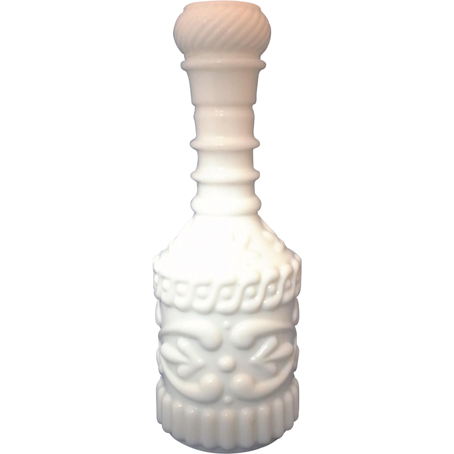 White Milk Glass Highly Embossed Liquor Bottle Jim Beam Decanter