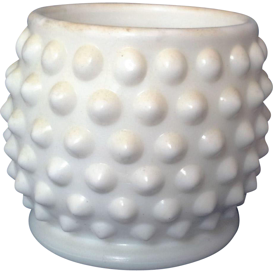 Fenton Hobnail White Milk Glass Mustard Jar No Lid