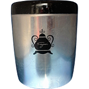 West Bend Aluminum Black Lid Sugar Canister