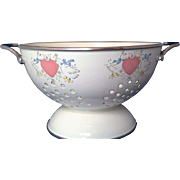 Cream Enamel Colander Country Kitchen Goose Geese Pink Hearts