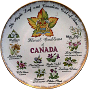 Floral Emblems of Canada Porcelain Souvenir Plate Hand Painted Japan Enterprise Exclusive Toronto
