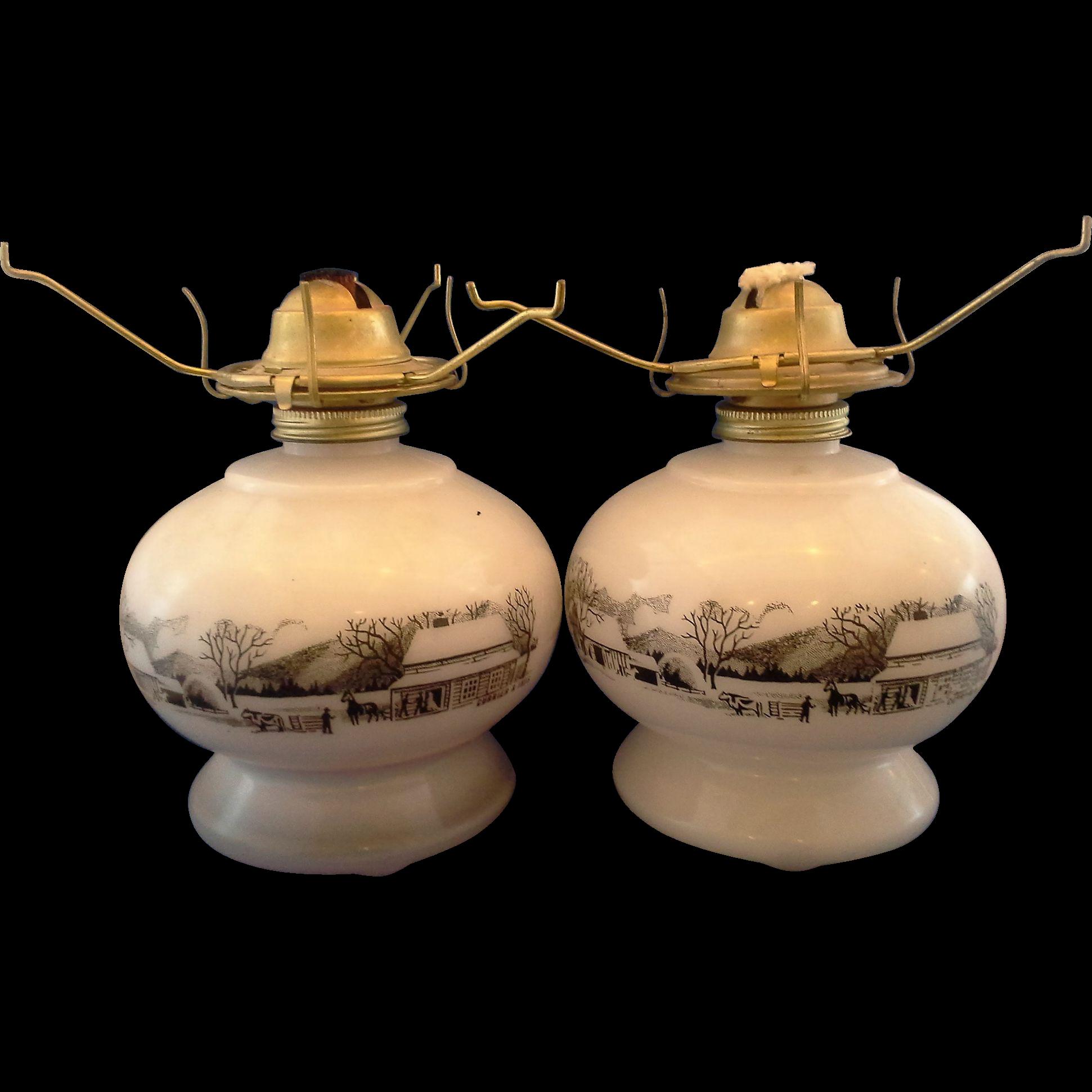 Currier Ives Milk Glass Black Scene Oil Lamps Pair