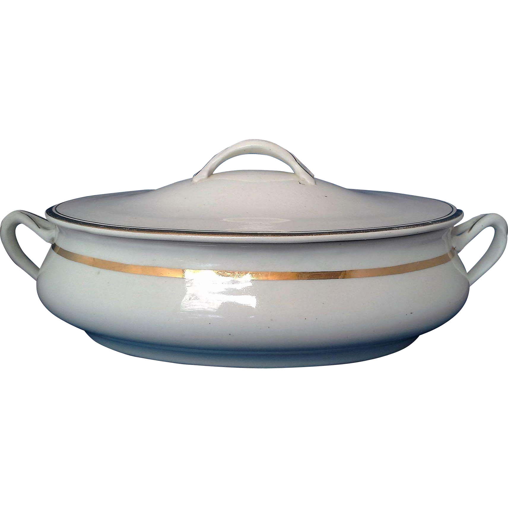 Mount Clemens Pottery Oval Covered Vegetable Dish White Gold Trim