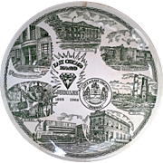 East Chicago Diamond Jubilee Green Transferware Souvenir Plate 1968 Kettlesprings Kilns