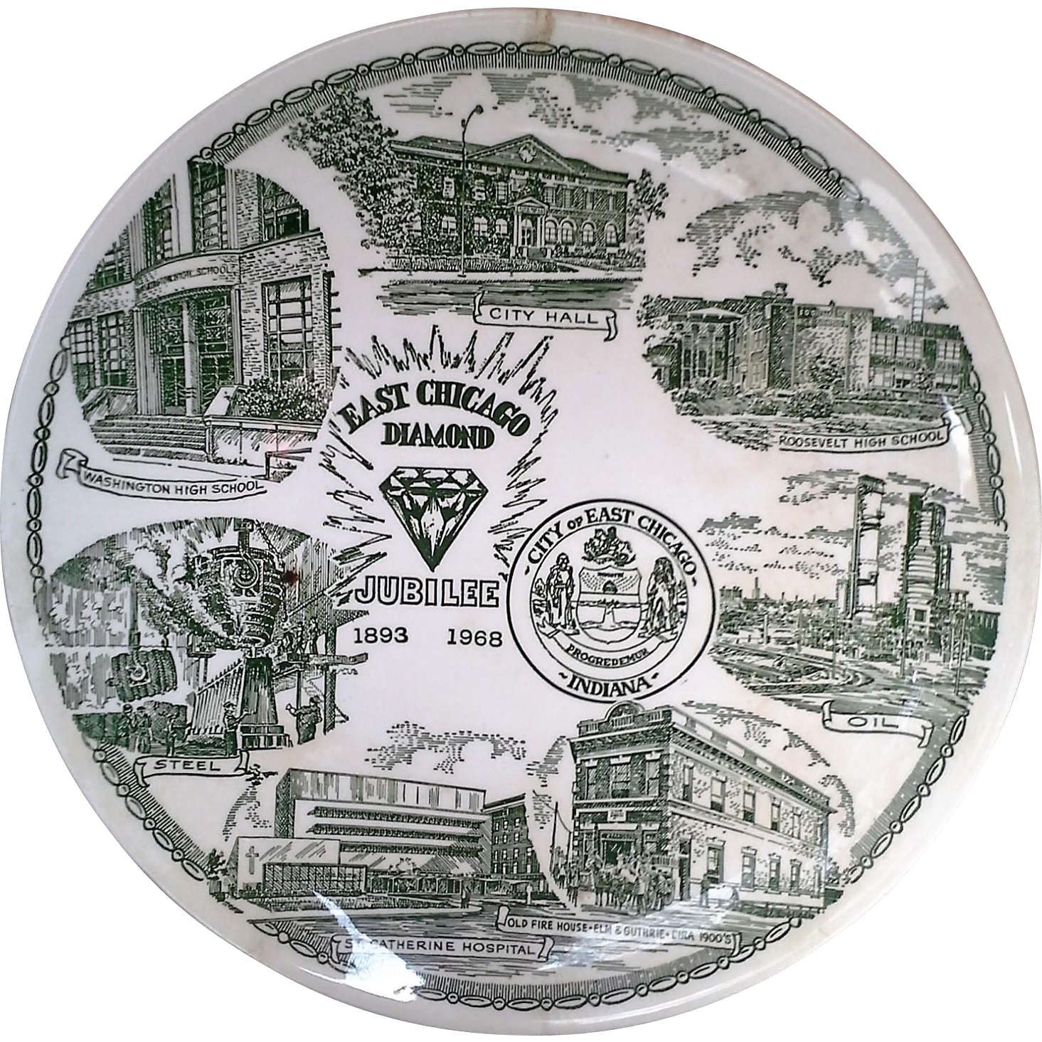 East Chicago Diamond Jubilee Green Transferware Souvenir Plate 1968 Kettlesprings Kilns