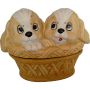 Cute Puppies Dogs Basket Porcelain Trinket Box Hand Painted