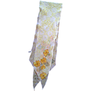 Vera White Yellow Flowers Polyester Chiffon Long Scarf