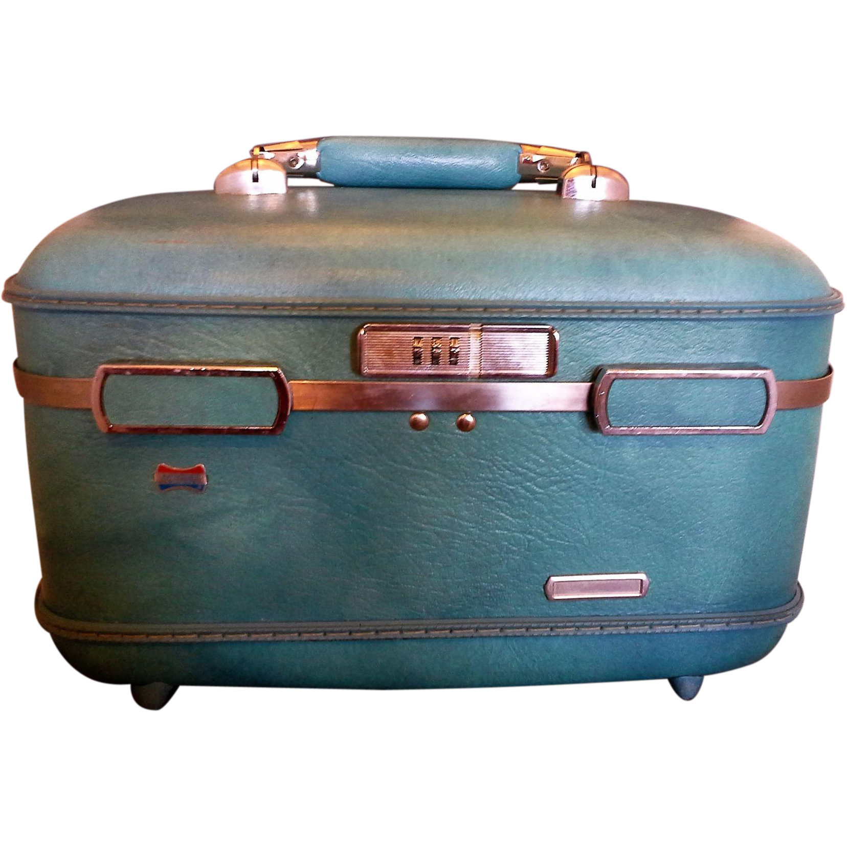 American Tourister Hard Vinyl Turquoise Blue Train Case Suit Case