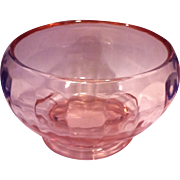 Pink Depression Glass Paneled Pillar Optic Rose Bowl