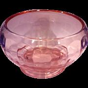 Pink Depression Glass Paneled Pillar Optic Rose Bowl