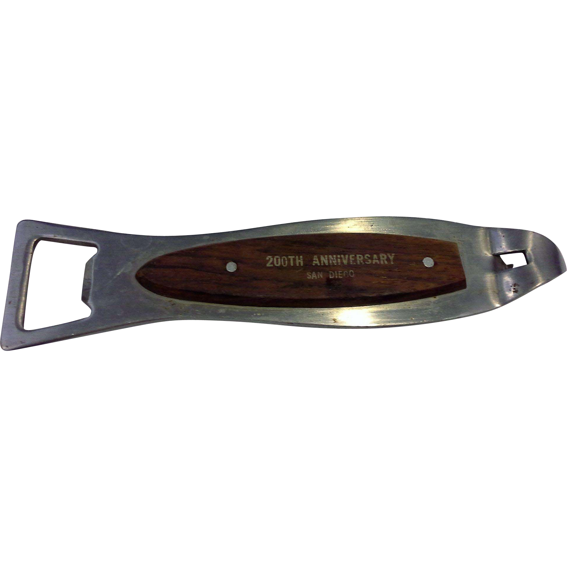 San Diego 200th Anniversary Souvenir Teak Wood Steel Fish Shaped Bottle Opener Japan 1969