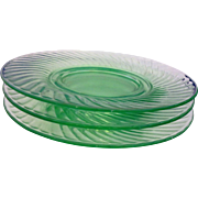 Twisted Optic Green Depression Glass Imperial Luncheon Plates Set of 3 8 IN