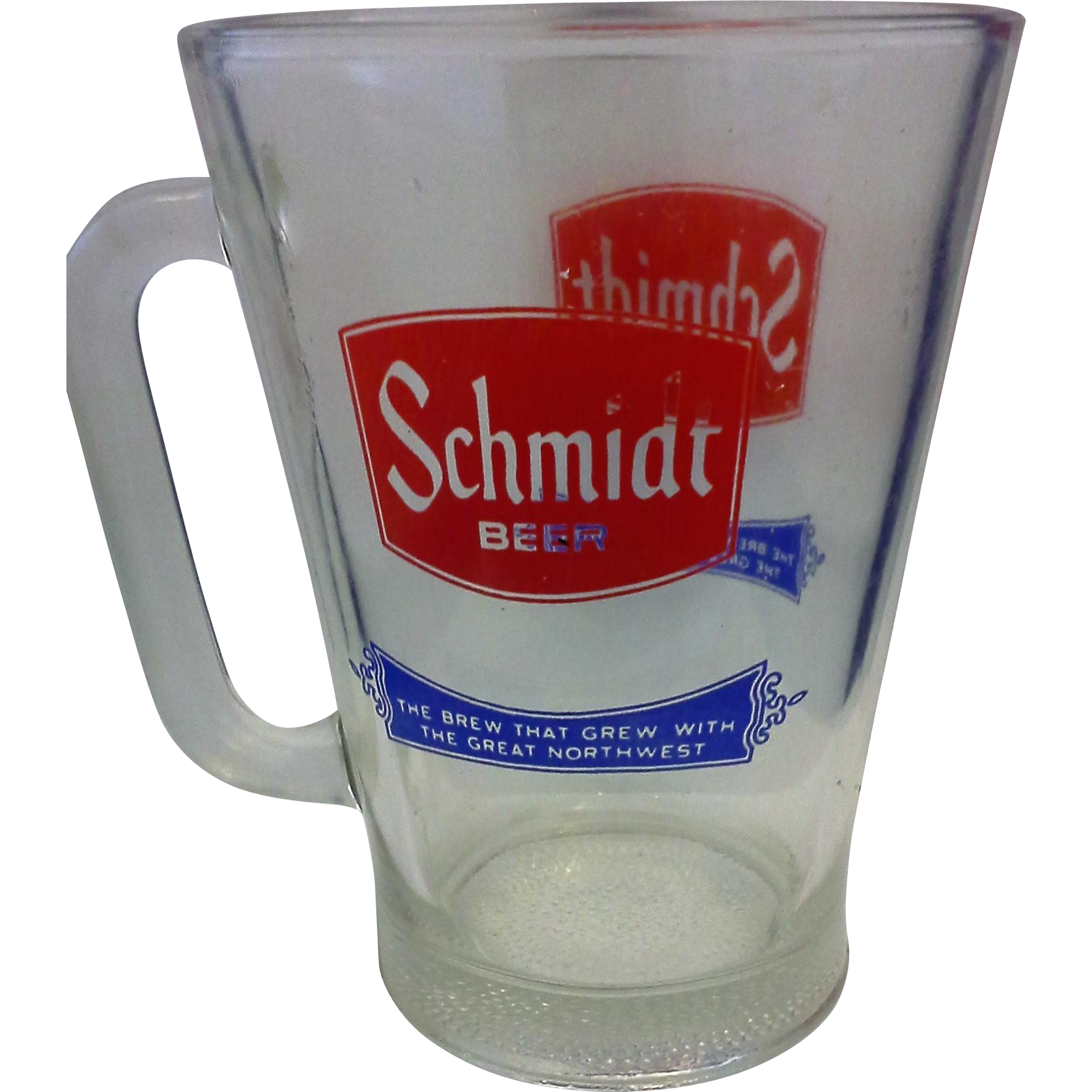 Schmidt Beer Glass Pitcher Large Mug Red Blue Logo