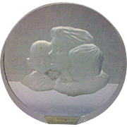 Danbury Mint Mother's Day Clear Glass Paperweight Frosted Intaglio Mother Children - Red Tag Sale Item