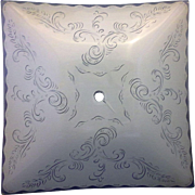 Clear Frosted Square Ceiling Light Lamp Shade 1950s