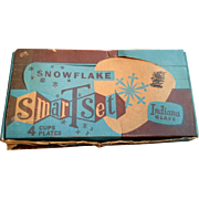 Indiana Glass Snowflake Snack Set 8 Pieces Original Box
