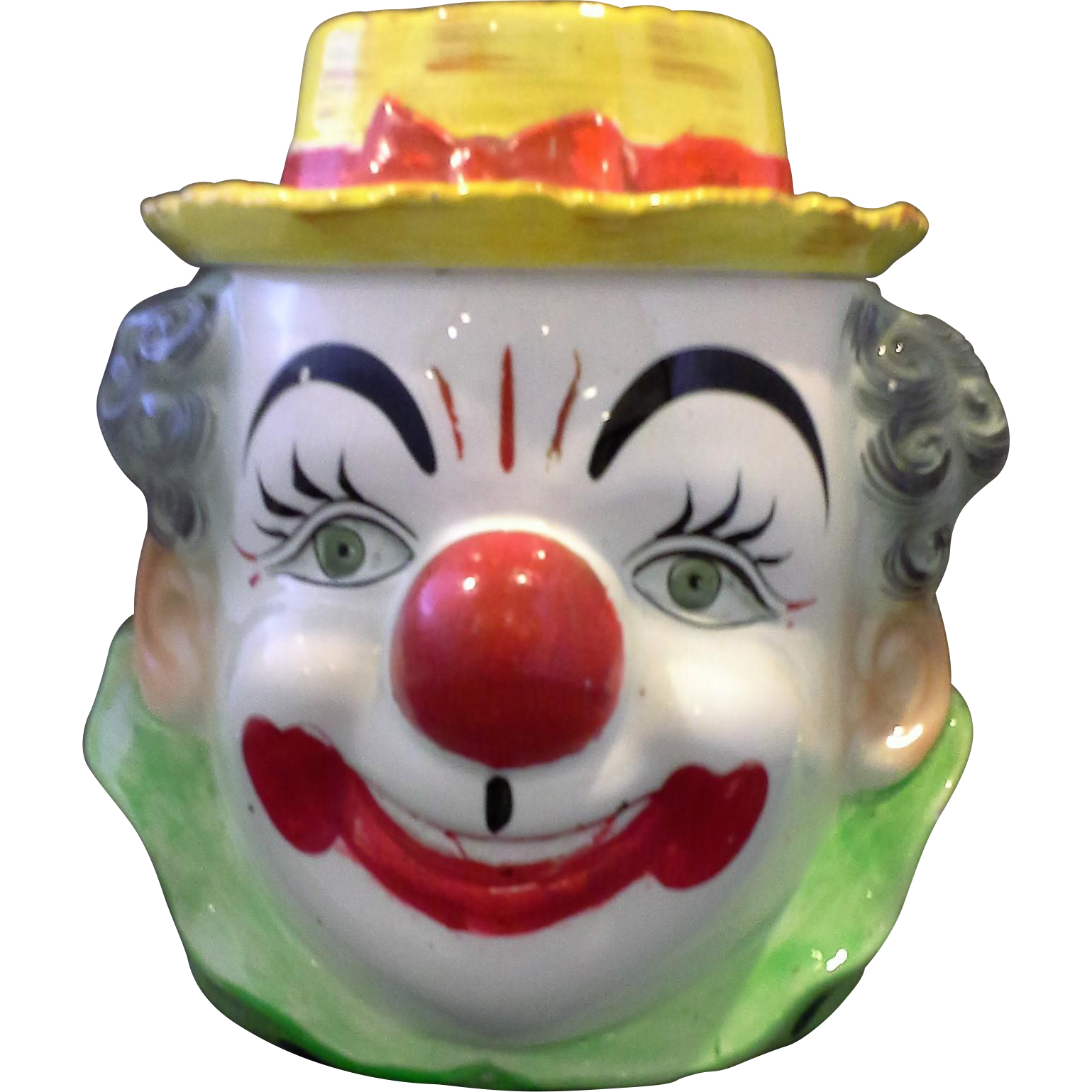 Hand Painted Clown Cookie Jar PY Japan