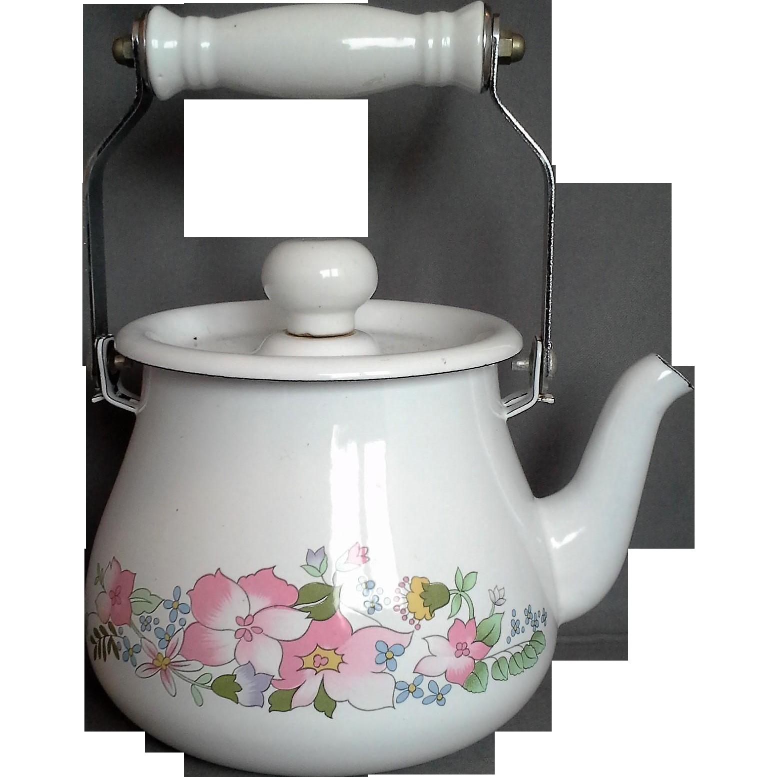 Kobe Floral Enamel Tea Kettle JC Penney 1 Qt