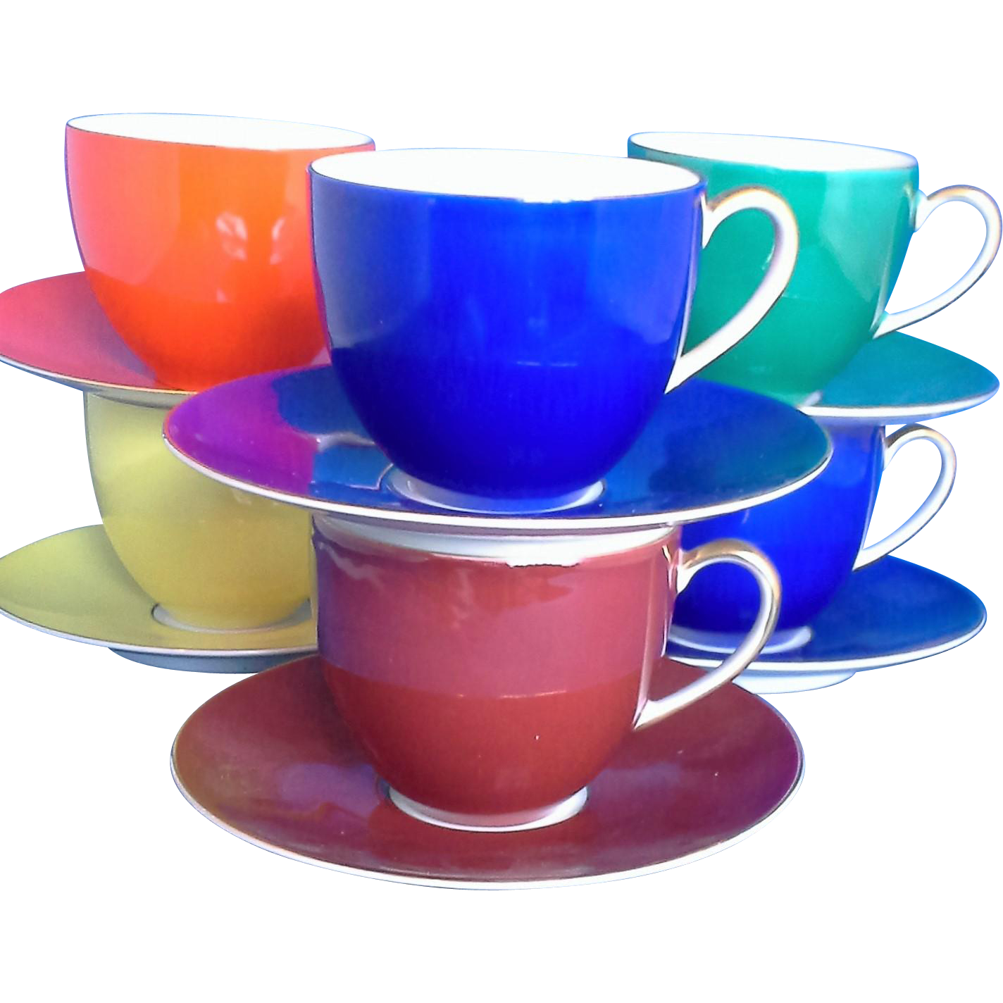 Porzellanfabrik Arzberg Bayern Porcelain Demitasse Set 5 Cups 5 Saucers Different Colors