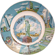 New York City of Wonders Vintage Souvenir Plate 1950-60s