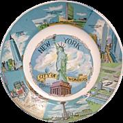 New York City of Wonders Vintage Souvenir Plate 1950-60s - Red Tag Sale Item