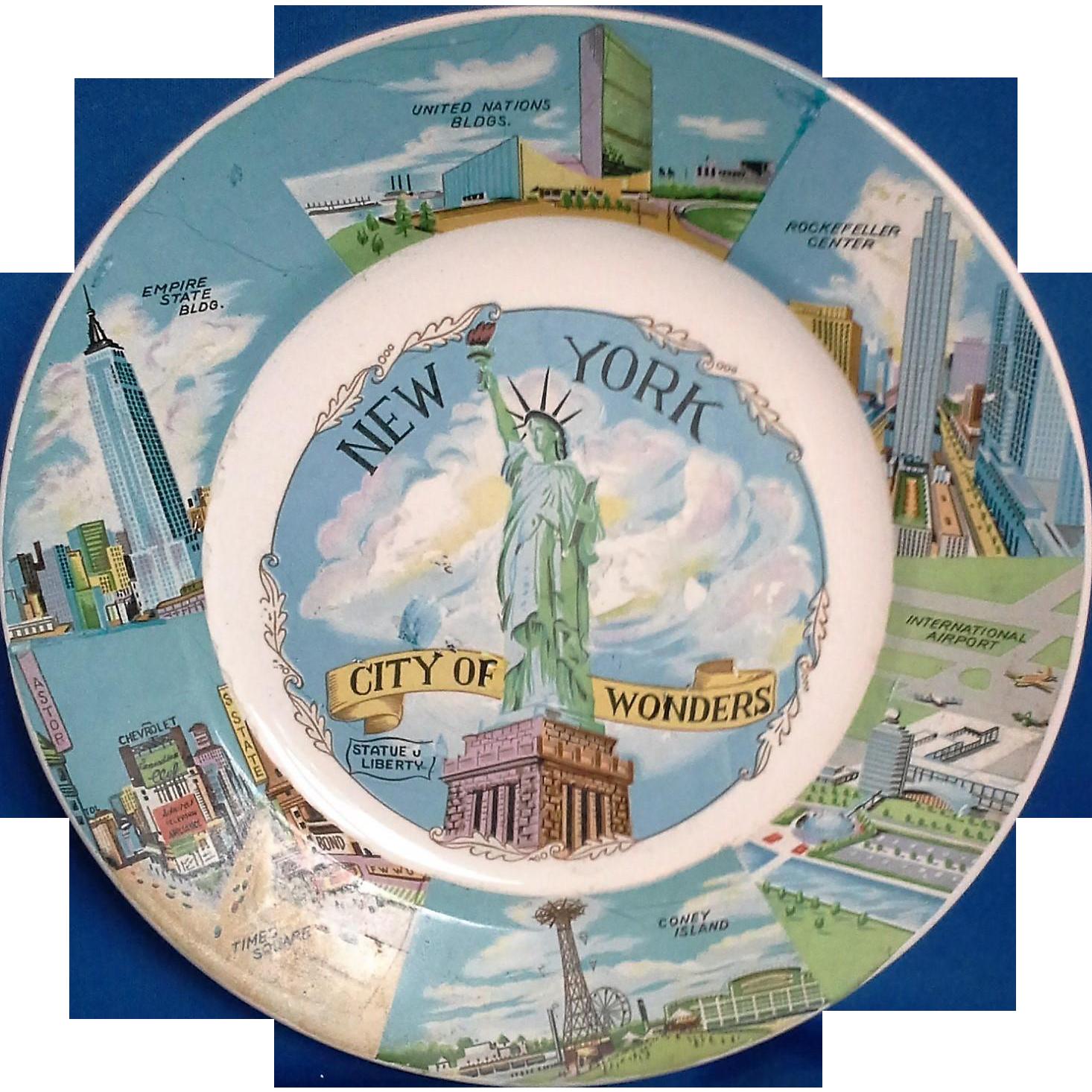 New York City of Wonders Vintage Souvenir Plate 1950-60s