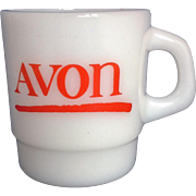 Avon Red Logo Milk Glass Mug Galaxy
