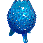 Fenton Colonial Blue Hobnail Egg Shaped 3 Toed Vase 3653