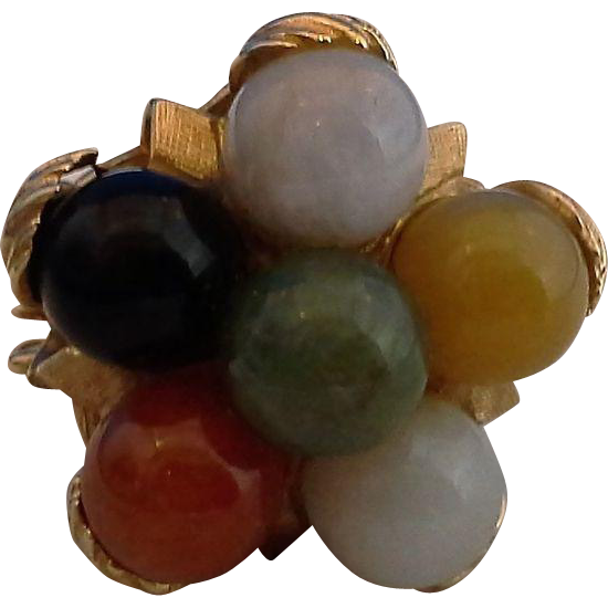 Jade Multi Color Balls 14K Gold Ring Leaf Setting