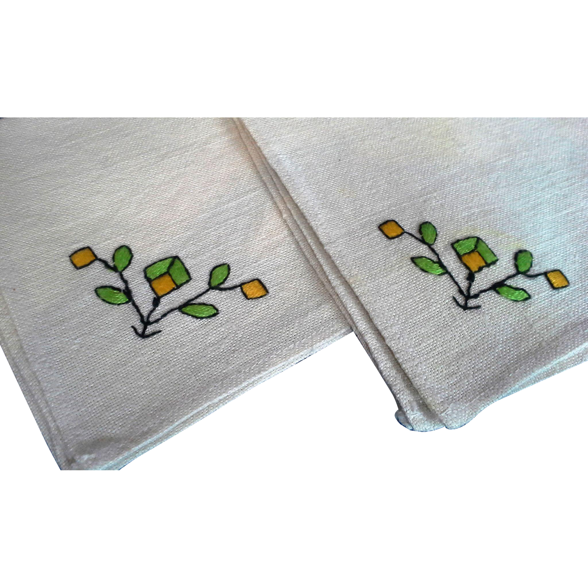 Linen Cocktail Napkins Set of 4 Green Yellow Embroidered Flowers