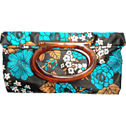 Lady's Pride Satin Tote Bag Purse Root Beer Lucite Oval Handle Blue Black Brown Floral