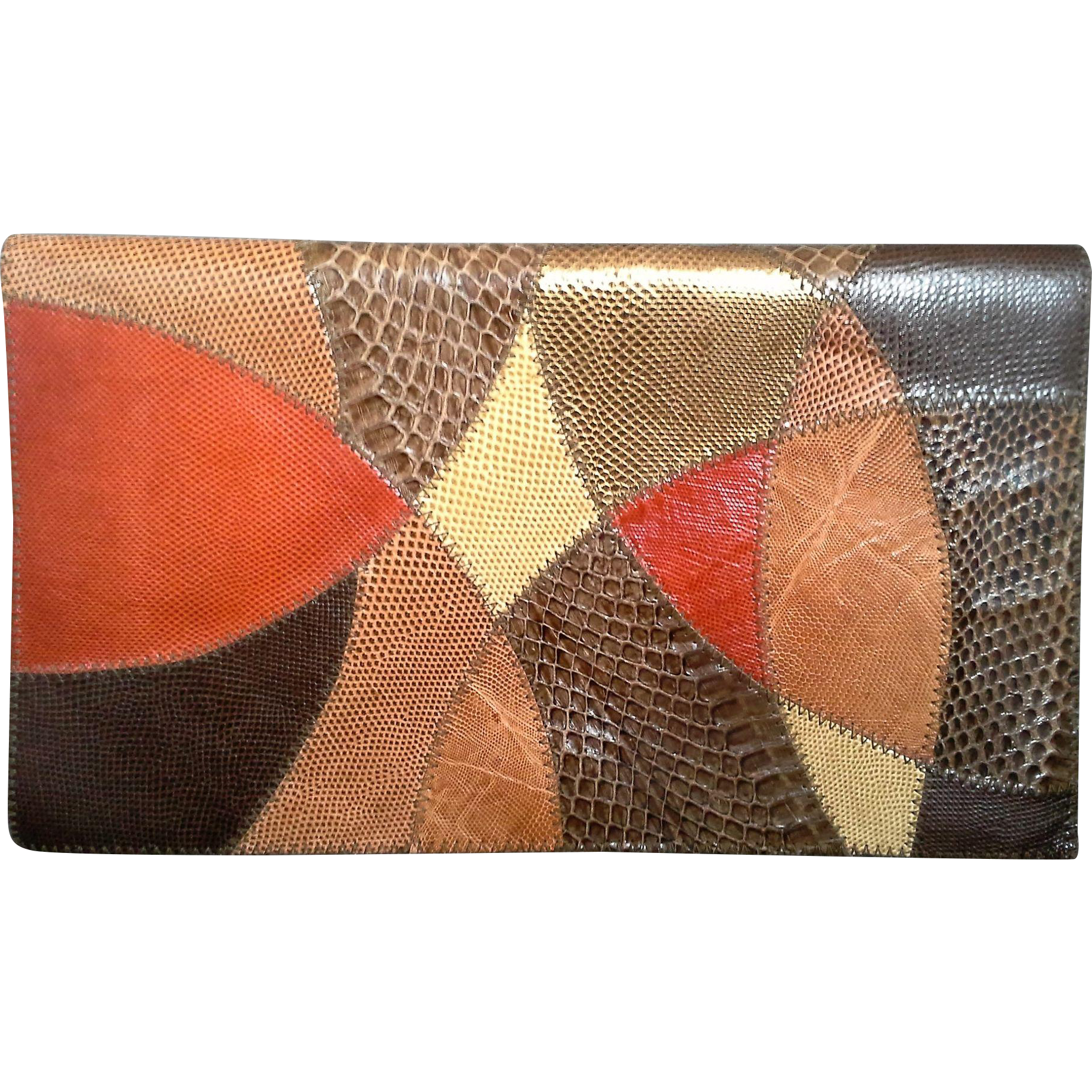 Furst & Mooney Snakeskin Patchwork Clutch Leather