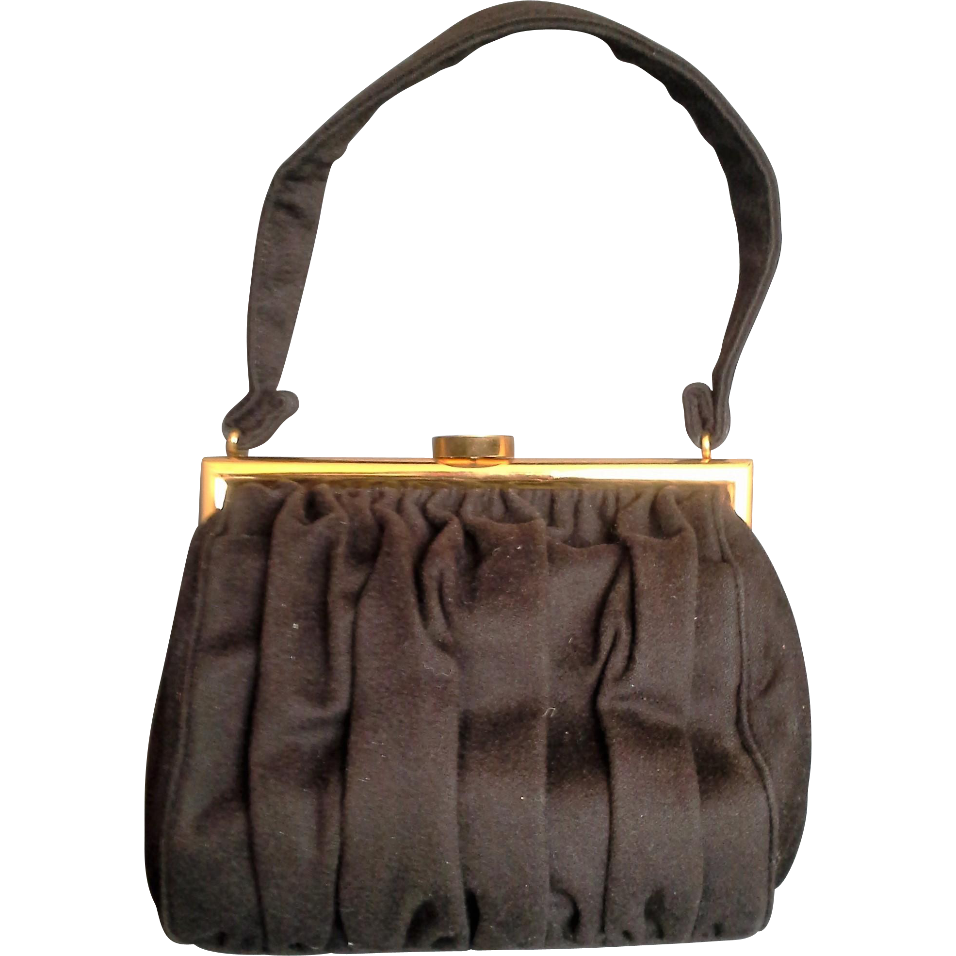 Bienen Davis Brown Wool Felt Evening Bag 1950s