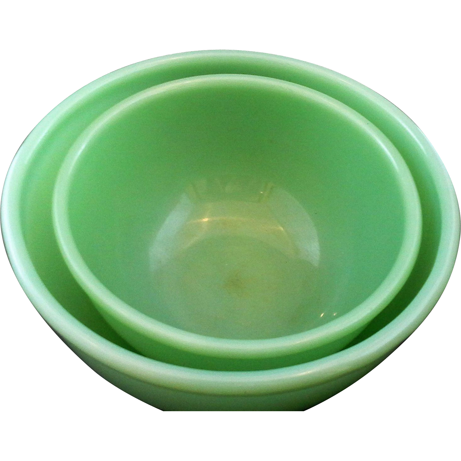 Fire King Jadeite Green Glass Mixing Bowls Pair Beaded Edge
