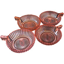 Queen Mary Prismatic Pink Depression Glass Hocking Fruit Dessert Handle Bowls Set of 4