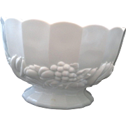 Indiana Milk Glass Banana Fruits Garland Open Round Footed Bowl