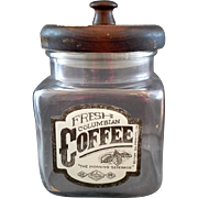 Glass Coffee Canister Wood Lid SJL Products 1984 Columbian Coffee