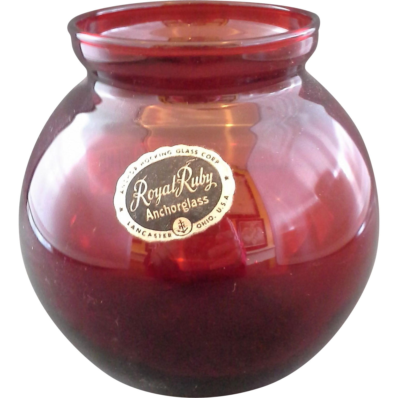 Royal Ruby Ball Vase Anchor Hocking Small Original Label