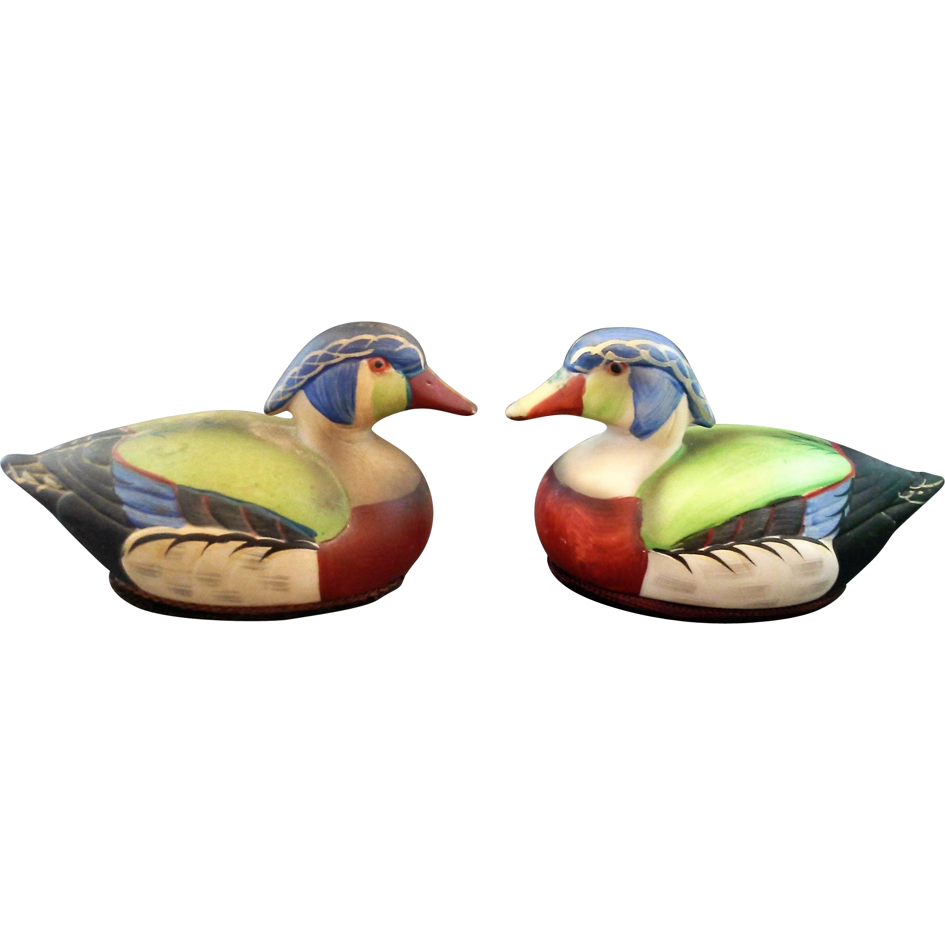 Jasco Porcelain Hand Painted Wood Duck Decoy Figurines Small Lint Brush