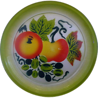 Bright Enamel Ware Platter Fruit 16 IN Round