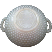 Anchor Hocking Ivory Hobnail Glass Handled Bowl