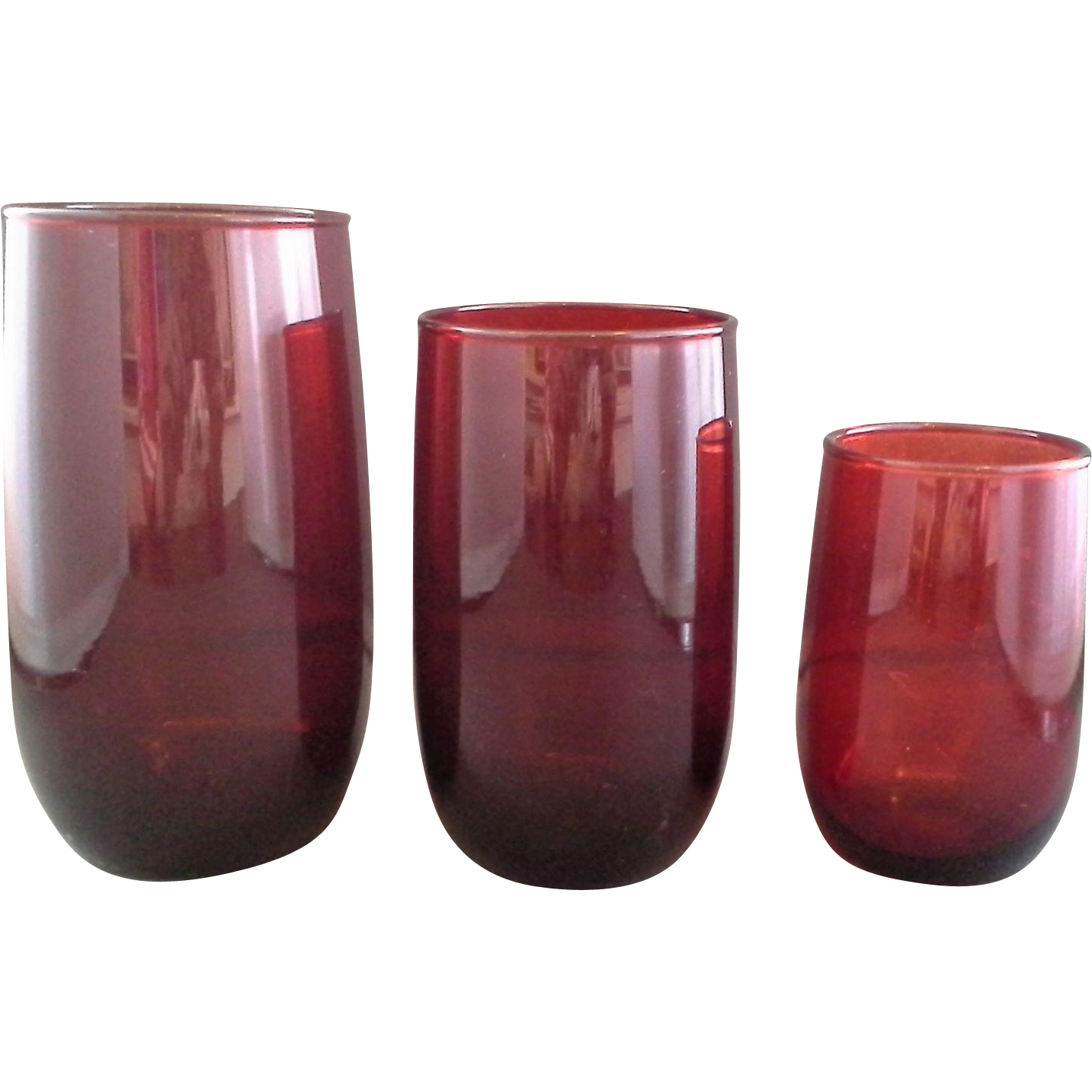 Royal Ruby Red Glass Tumblers 3 Sizes Anchor Hocking Roly Poly Shape