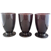 Royal Ruby Anchor Hocking Footed Iced Tea Set of 3