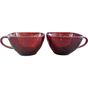 Royal Ruby Charm Cups Pair Anchor Hocking