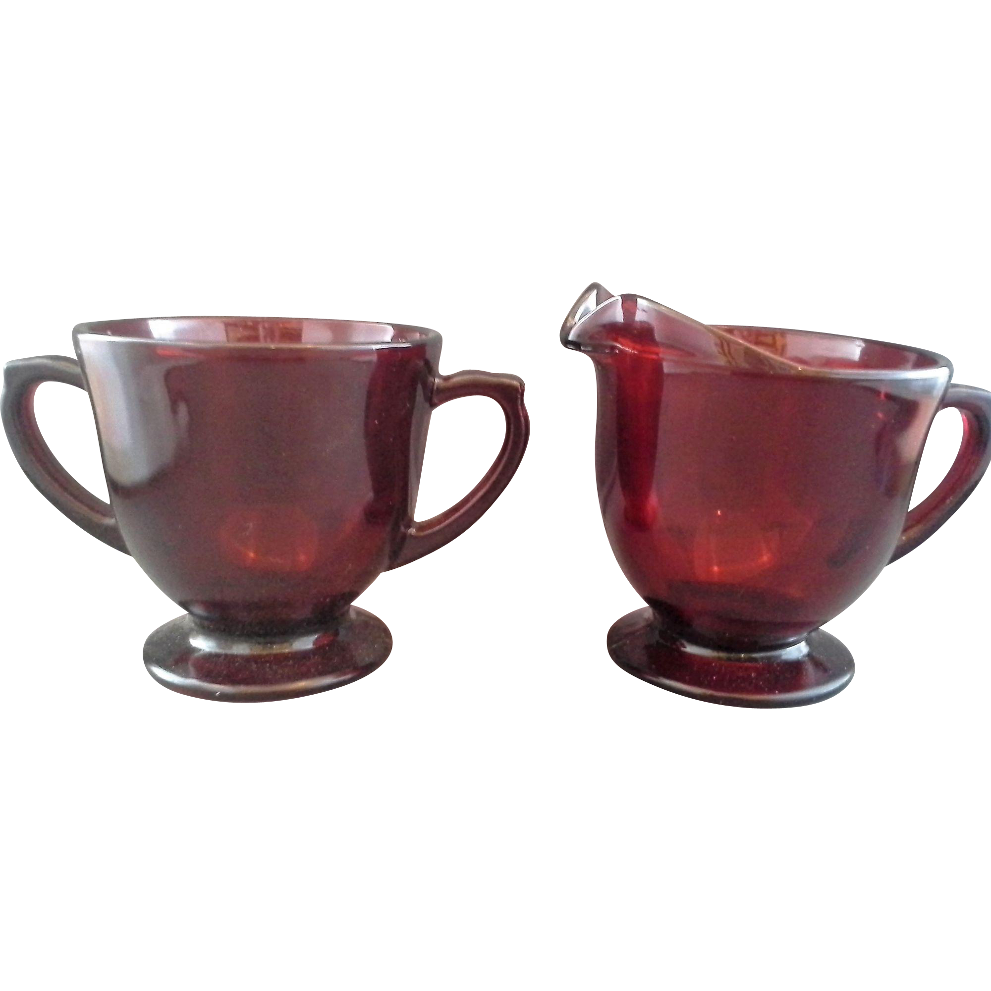 Royal Ruby Anchor Hocking Footed Creamer Sugar Set