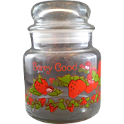 Strawberry Shortcake Berry Good Small Glass Canister 1 PT